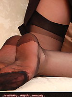 Angel Lovette in black 70`s stockings